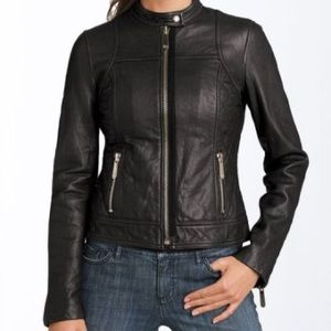 MICHAEL KORS Quilted Leather Moto Jacket, Sz S